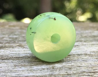 Large Hand Carved Apple Green Gem Quality Siberian Jade Bead