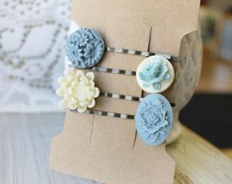Floral Hair Pins for Wedding - Bridesmaid Hair Accessories - Bridal Hair Pins - Flower Hair Pins - Boho Hair Accessories - Blue Hair Pins