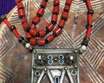 Berber Tribal Necklace with Old Enamel Prayerbox, Coral & Various Beads from South Morocco