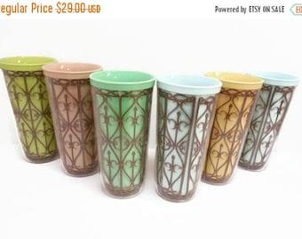 40% OFF NOW Pastel Insulated Plastic Tumblers, Vintage Melamine Tumblers, Set of 6, Lattice Design Drinking Glasses, MCM Colorful Plastic Tu