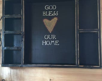 God bless our home wooden distressed wall shelf kitchen shelf bedroom bathroom country wooden distressed shelf