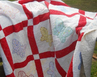Antique Primitive Butterfly Quilt- Charmingly Dilapidated-Tattered and Torn-Outdoor Display Quilt-Cutter Quilt-Christmas Tree Skirt
