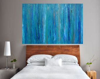 READY TO SHIP: 24x36 One Panel Abstract Earthy Zen blue teal copper sea green by MyImaginationIsYours