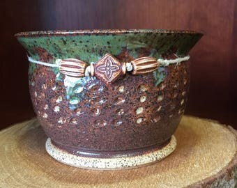 Hand Made Earth Tone Clay Pedestal Bowl