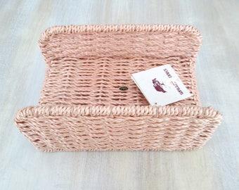 Pink Wicker Basket // Napkin Guest Towel Holder NWT 1980s Vintage Home