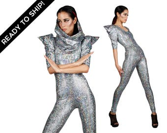 Ready To Ship! Signature Catsuit in Silver Hologram, Holographic Jumpsuit, Burning Man Costume, Futuristic Fashion, Festival, by LENA QUIST