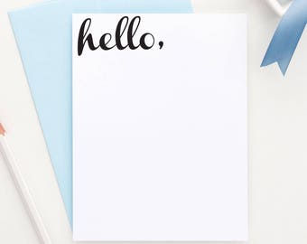 HELLO flat note cards, hello stationery, hello note card set, Hello Stationary, hello card, greeting card, just because card, TY002