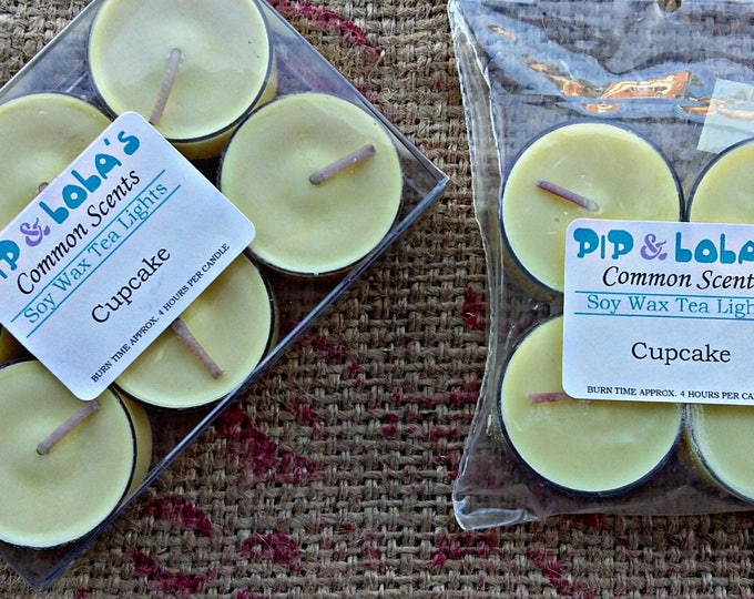 Cupcake Scented Tea Lights - Pip & Lola's Common Scents - Soy Candle Wax, Tea Lights, Soy Wax, EcoSoy, Candle, Lightly Scented