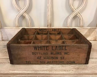 Vintage Wooden Soda Crate  - Great for Storage or Serving Tray - While Label Bottling Works