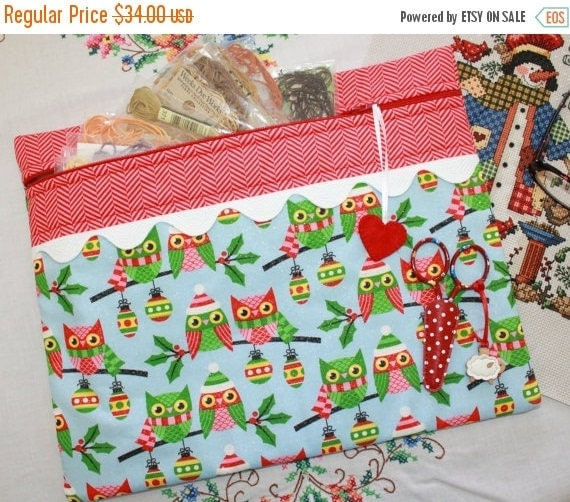 SALE Glittery Christmas Owls Cross Stitch, Sewing, Embroidery Project Bag