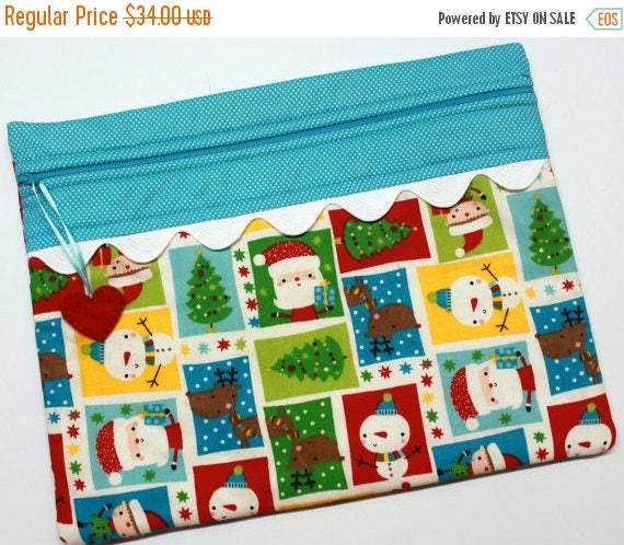 SALE Santa and Friends Cross Stitch, Sewing, Embroidery Project Bag