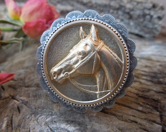 Lacy Sterling Concho Classic Horse Cocktail Ring Size US 7.5 - Hand stamped - vintage brass equestrian stamping in new handmade setting