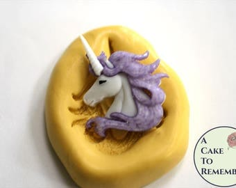 Small unicorn mold for cake decorating, tiny cupcake toppers. Silicone mold for unicorn theme crafts, polymer clay, resin, utee, M5198