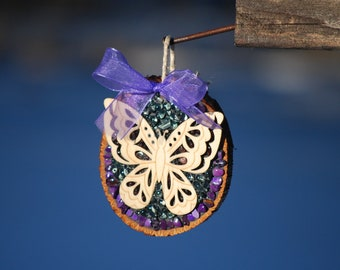 Purple Butterfly ornament Mosaic butterfly garden decor gift tag rustic butterfly decor mosaic butterfly under 20 gift for her mothers day