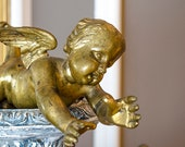Antique FRENCH Flying Cherub Figure, Statue, Salvage from French Chandelier, Gilded Spelter