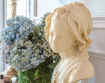 Vintage French Girl Bust, Grinam Niam, Signed, Paris, Large and Heavy