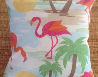 Flamingo & palm tropical outdoor cushion
