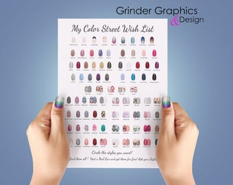 Color Street Flyer - Wish List: Instant Download. Hand Out at Nail Bars/Events for people to circle & create their wish list!