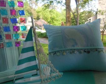 Pillow Seaside Seashell Collection - Iced Blue / Pale Aqua Seashell Designer Pillow  - Decorative Pillow - Reversible 14 x 16 Inch