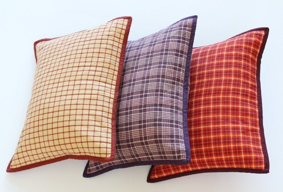 Orange Plaid Rustic Throw Pillow