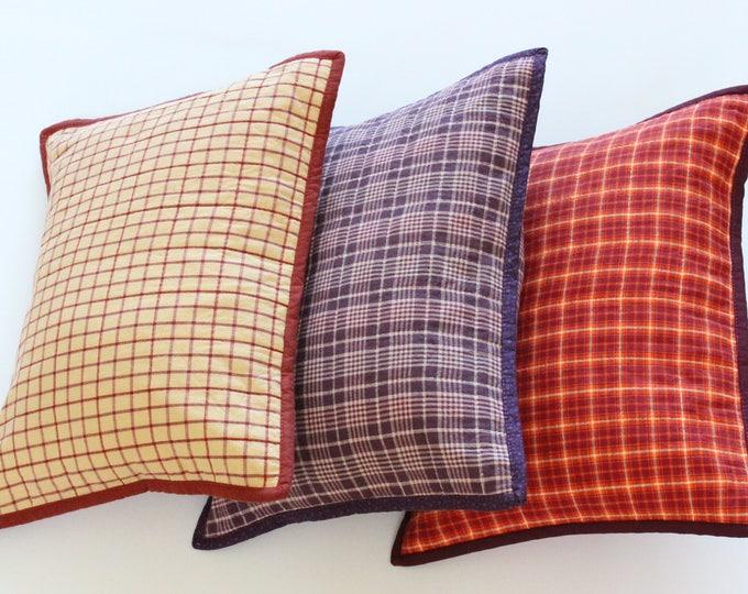 Orange Plaid Rustic Throw Pillow
