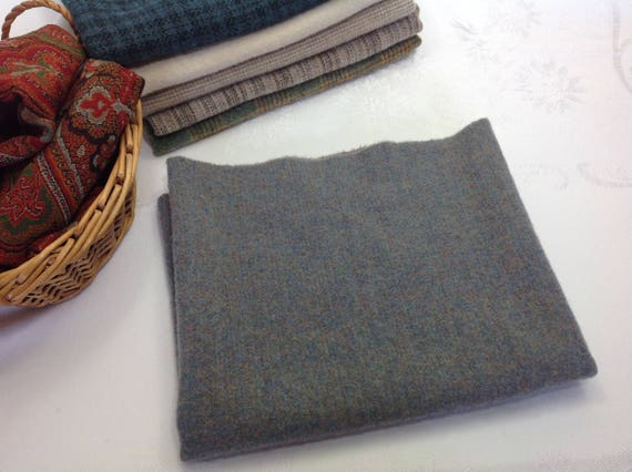 Fat 1/4 Yard, Moody Blue Waters, Wool Fabric for Rug Hooking and Applique, W382, Cloudy Blue, Dusty Blue, Grayed Blue