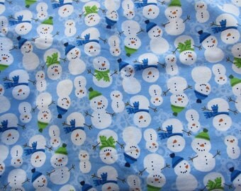 Snowmen With Blue Green Scarves Stick arms 41 x 41 Handmade Flannel Receiving Swaddle Baby Blanket