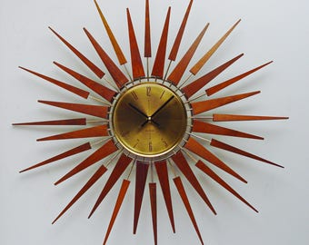 Starburst Clock by Seth Thomas, Mid Century Modern 1970s Starflower Sunburst Wall Clock