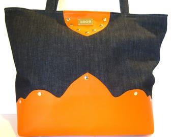 Orange faux leather denim blue tote bag