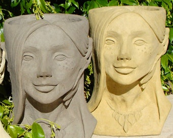 Stone FAIRY HEAD PLANTER - Hand Crafted Original Copyrighted Sculpture (a/o)
