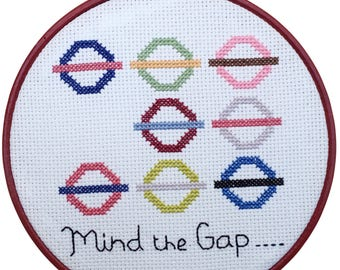 Mind The Gap. Cross Stitch Kit. London Underground Map- DIY kit- By Ruth Caig