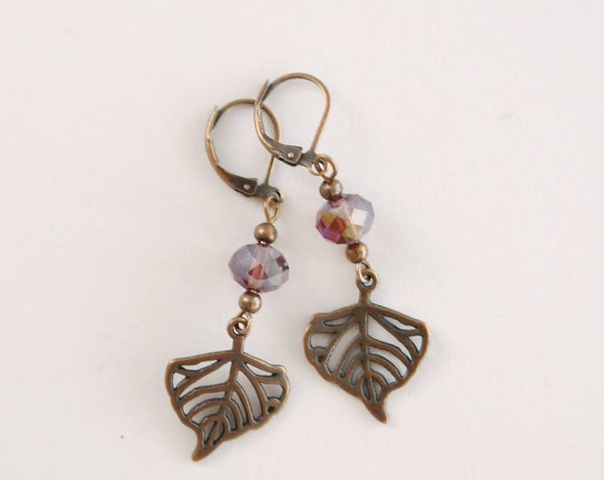 Antique copper dangle earrings with purple czech glass beads and filigree leaves, romantic, victorian style, boho, romantic, sweet, darling