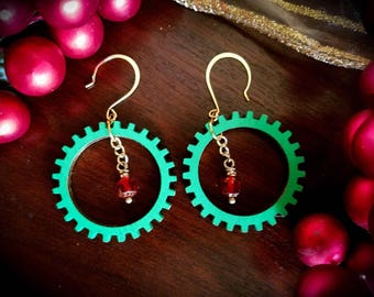 Holiday Earrings- Steampunk Earrings, Bright green Earrings, Holiday gift, Red & Green Jewelry, Hand painted Jewelry, Hoop Earrings, Beaded