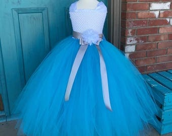 Elegant Turquoise Couture Flower Girl Dress w/ a silver sash Great for Weddings/ Pageant Attire/Tutu Dress/Shabby Chic