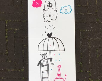 SALE!!! Silkscreenprint ITS RAINING