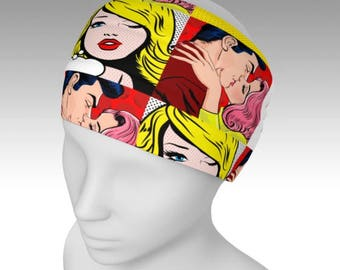 Pop Art headband , Pop Art, Retro Gift, Face warmer, Book Covers hair band By Rooby Lane