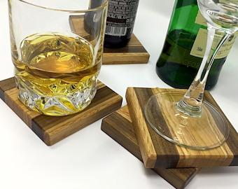 Handmade Oak, Maple and Walnut Coasters - set of 4