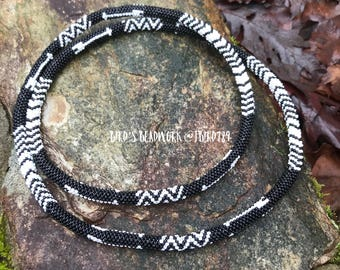 Black/White Beaded Rope Necklace
