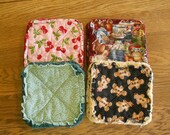 Pair of Rag Quilted Fabric Pot Holders:  Cherries Kitchen Calico Gingerbread