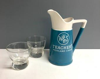 Teacher's Highland Cream Blended Scotch Whiskey water pitcher - vintage 1970s barware