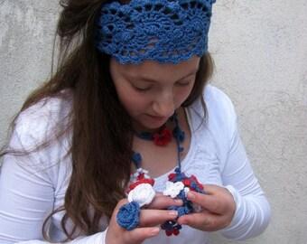 ON SALE 15 % SALE Crochet Lace Hairband -Crochet HeadBand -Hair Accessories - Hand Crochet Headband - Denim Blue
