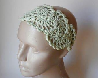 ON SALE 15 % SALE Summer Crochet Lace Head Band- Crochet Lace Headband-   Hair Fashion Accessories - Crochet HairBand in Mint Green