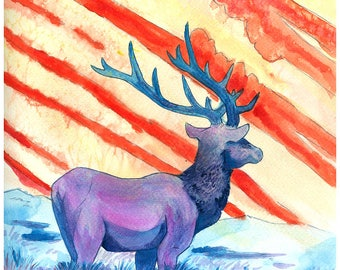 "A Colorful World 5X7"" Signed Watercolor elk Art Print"