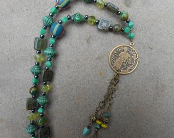 15%off JAPANESE GEISHA PENDANT necklace bold boho necklace