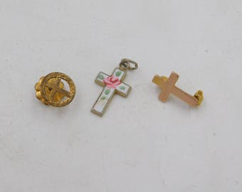 Vintage Lot of Tiny Gold and Cloisonne Christian Crosses for Repurpose dr61