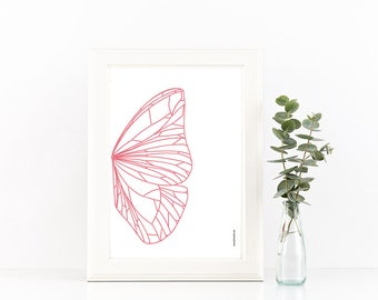 Butterfly Wing, Print, Poster, Abstract, Wall Art, Wall Decor, Illustration, Insect Art, Art Prints, Apartment Decor, Nature Wall Art