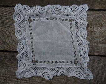 Vintage 1950s to 1960s Lace White Handkerchief Reuse Wedding/Bridal Dainty Feminine Retro