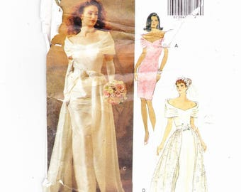 Butterick 5897 Szs 6-8-10 Misses Wedding Gown, bridesmaid, Mother of The Bride, overskirt gown Vintage UNCUT