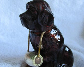Vintage Avon Bottle Decanter Glass Faithful Saint Bernard Dog - Empty (#22)