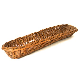 Antique French Boulangerie Baguette Proving Basket, Wicker French Bread Basket,  Farmhouse Decor, French Country Decor,  Large